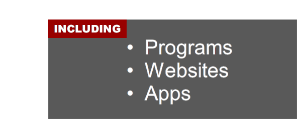 Including programs; websites; and apps